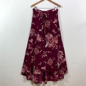 Bobeau Wine Floral Print Wrap Skirt